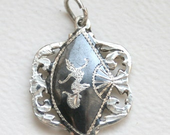 Vintage Siam Sterling Silver Niello Ware Reversible Pendant Mekkala, the Dancing Goddess