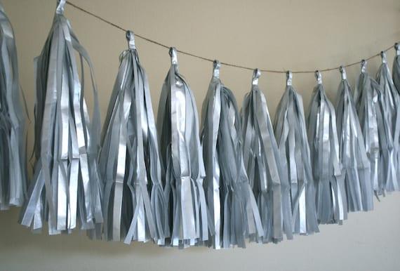 METALLIC SILVER / tissue paper tassel garland / wedding decorations / new years eve / nye / silver anniversary / fringe banner / tassels