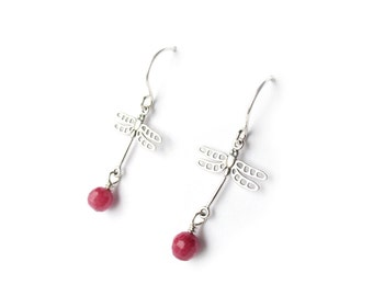 Sterling Silver Dragonfly Earrings with Pink Ruby Jade