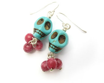 Turquoise Magnesite Skull Earrings with Ruby Jade for Halloween and Day of the Dead