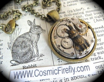 Steampunk Necklace Easter Rabbit Antiqued Brass Round Pendant Vintage Watch Movement Tiny Brass Bunny Easter Necklace Easter Bunny Necklace