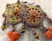 Fall earrings, hand painted rusty metal, autumn fall colors