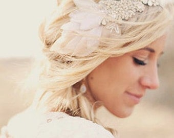 The Classic Crystal and Petal Mini Bandeau (worn as a headband)- Michelle