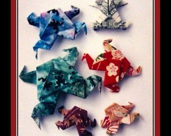 Vintage 1994-ORIGAMI FROGS-Craft Booklet -Frog Fabric Pin -Paper Frogs- Dollar Bills Frogs-Easy Instructions & Diagrams-Like New Condition