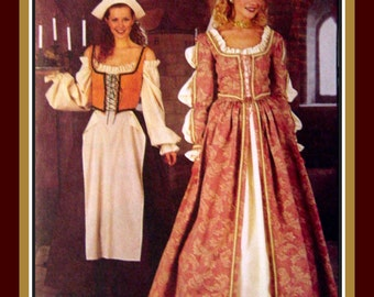 ELIZABETHAN LADIES GOWN- Costume Sewing Pattern & Serving Maid-Lace Up Bodice-Long Skirt-Headpiece-Contrast Underskirt-Uncut-Size 12-16-Rare