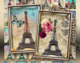 Digital Collage Sheet TOUR EIFFEL 1x1.5 inch size Paris images Printable download for 25x35mm pendant trays glass cabochons or magnets
