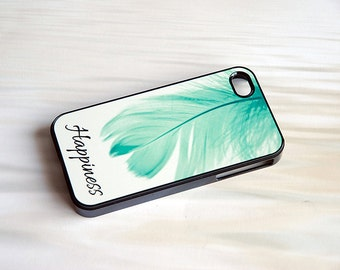 Personalized Phone Case, iPhone Case, Mint Blue Feather Monogrammed Phone Case + teal