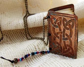 Handmade Metal Book Necklace Celtic Design