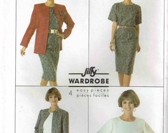 Skirt Top and Unlined Jacket Jiffy Simplicity 9254 Sewing Pattern Full Figure Plus Size 14 16 18 20 22 Bust 36 38 40 42 44