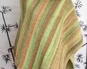 Womens Cowl Neck Poncho Crochet, Rainforest Colors, Cape Cowl Neck