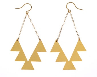 ON SALE SALE 35% Off:Geometric Navajo Gold Earrings