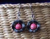 Pretty Pink Variscite Center Titianium Earwires Wavy Hematite Circle Handmade in Newfoundland Optimism Alaska Black Diamond Hypo Allergenic
