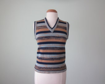 70s sweater vest / space dyed striped marled blue & tan knit top (s - m)