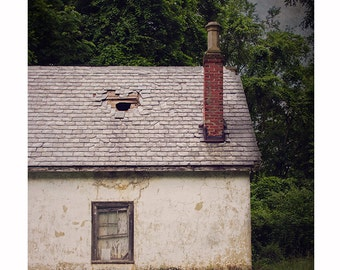 Rustic Wall Art, Rural Photography, Abandoned Farmhouse, Dark Moody Decay Photograph, Cottage Farm Decor, Cream White Summer Art