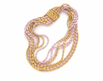 Art Deco Necklace. Gilt Brass Orchid Pink Multi Strand.
