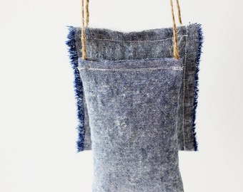 Car Air Freshener - Blue Denim Lavender Sachet, Car Accessories for Men, Cotton Anniversary Gift for Him