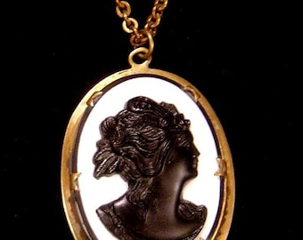 Cameo pendant Necklace white milk glass with black glass cameo
