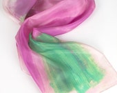 Handpainted silk scarf -Watermelon stripes/ Pastel rose and green scarf. Summer scarf painted. Art to wear. Painting on silk/ Birthday gifts
