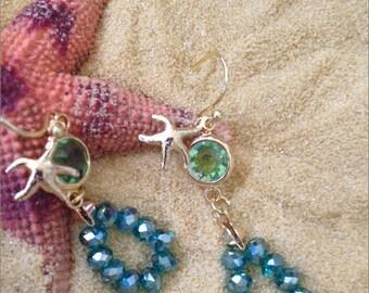 Aqua Starfish Earrings, Peridot Starfish Earrings, Gold Starfish Earrings, Framed Green Glass Aqua Blue Beaded Tiny Starfish Earrings