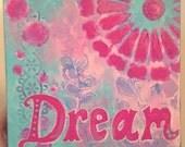 Dream Painting, Pink, Light Blue, Girl's Room Decor, Baby Girl Art, 6x6 Art Print, Pattern, Whimsical