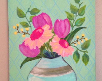 Sale Tulips and Gerber Daisy Flowers Original Painting, Vibrant flowers in vase, 12x16 Canvas, Mother's Day Gift, Gardener Gift, Wall Art