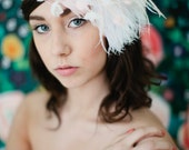 Boho Beauty feather halo headband with flowers pearls crystals pink white ivory blush