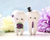 Molar Teeth wedding cake toppers - dentist bride groom dental hygienist odontologist oral surgeon funny cute figurines personalized