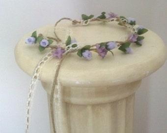 Woodland lavender lace flower crown Wedding party Bridal Accessories twine tie flower girl halo hair garland wreath circlet couronne fleurs
