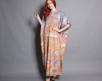 90s Ethnic CAFTAN DRESS / Indian Hand Printed METALLIC Draped Maxi