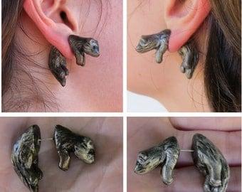 Faux Gauge Ferret Earrings Pair Cute Jumping Through Ear