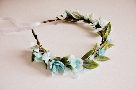 Light Blue Wedding Hair Crown, Baby Shower Crown, Flower Headband, Baby Blue Crown