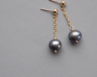 Black Pearl Gold Ball Post Earrings