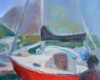 """Red -Print- """"Oh the Places You'll Go"""" -  Original Painting Impressionist Sailboat Oil - Art for the Man-cave - Sailing"""