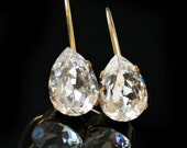 Clear Swarovski Crystal Teardrops in Gold Bezels on Leverback Earrings