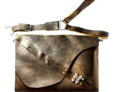 Industrial Leather Satchel - Brown Rugged Distressed Messenger with Harness Strap
