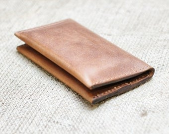 Distressed Men's Wallet - Aged Leather Iphone Case and Wallet Pouch - Retromodern Leather Phone Wallet