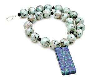 Lapis Pendant Necklace, STATEMENT Necklace, Goddess Flare, Lapis Malachite Pendant, Chunky Necklace, Lush Gemstone Design by Mei Faith