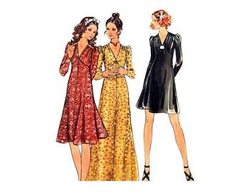 1970s Vintage Dress Pattern Butterick 6308 Empire Fit & Flare Dress Mini or Maxi Dress Junior Size 7 Sewing Pattern UNCUT