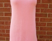 Cotton Knit Long Tank Shirt or Dress by Moda International Size Medium Made in USA