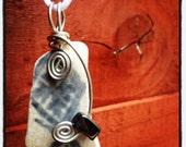 Irish Sea Pottery Pendant - Grey and White pattern with Hematite....