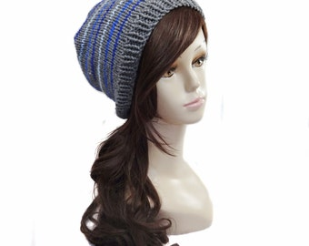 Knit Slouchy Hat - Grey with Blue Stripes