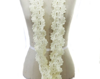 Queen Anne's Lace Skinny Scarf - Ivory Scarf - Hand Crocheted Scarf