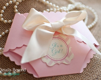DieCut Diaper Baby Shower Invitation with Satin Bow on Pearlescent Card stock