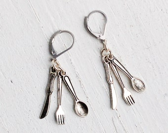 Tiny Fork, Spoon & Knife EARRINGS Silver Cutlery Chef Cook Dollhouse Silverware