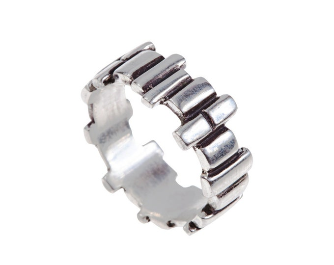 Mens Building Blocks Sterling Silver Ring // Soft Squares Band