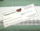Gift Certificate for Snappy Tatter -100 Dollars -The Perfect Gift