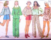 1970s Simplicity 5639 Shorts Wide Legged Pants Smock Top Sewing Pattern