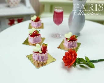 Strawberry Heart cream pink Cake- 12th Scale Miniature Food