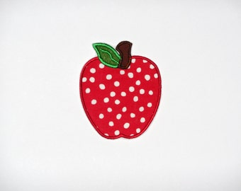 """Embroidered Iron On Applique  """"Apple"""""""