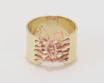 14K Gold Ring, Corset Ring, Wide Band, Sexy Ring, Rose Gold Ring, yellow Gold Ring